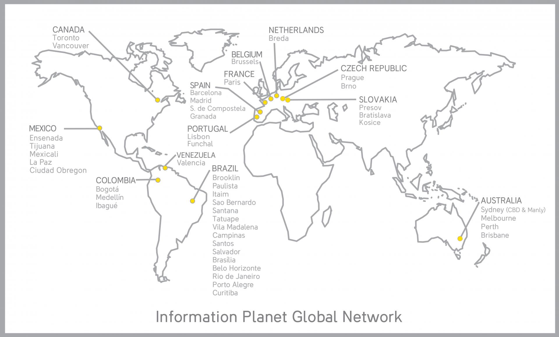 mapa kancelari information planet po celem svete
